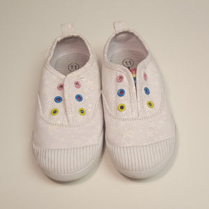 Cat and Jack White Rainbow Star Pull On Sneakers